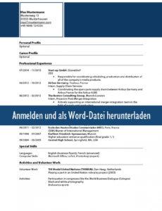 Muster Zum Download: Lebenslauf Englisch Internationaler Lebenslauf Vorlage Englisch