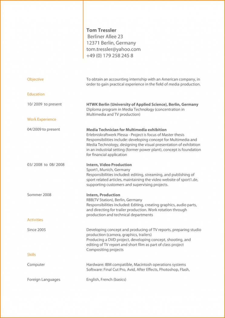 Porbe von  13+ Englisch Cv Muster  Beerfromabird Lebenslauf Auf Englisch Schreiben Vorlage