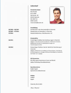 Porbe von  15+ Lebenslauf Englisch Muster Student  Jrobinberry Cv Vorlage Englisch Praktikum
