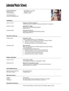 Porbe von  17+ Lebenslauf Vorlage Schweiz Schüler  Ravella Hotel Lebenslauf Muster Schüler Schweiz