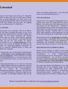 Porbe von  8+ Lebenslauf Ausformuliert Muster  Mylop Lebenslauf Vorlage Unterricht