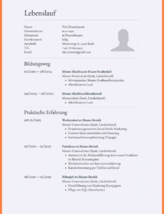 Porbe von  9+ Lebenslauf Zeilenabstand  Outloudchorus Lebenslauf Vorlage Zeilenabstände