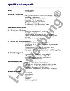 Porbe von  Beispiel Qualifikationsprofil Zur Initiativbewerbung Vorlage Lebenslauf Mit Kompetenzprofil