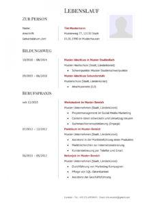 Porbe von  Bewerbung Ferienjob  Tipps, Muster & Vorlagen  Lebenslaufdesignsde Vorlage Lebenslauf Ferienjob
