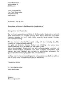 Porbe von  Bewerbungsschreiben (Anschreiben) Vorlage Schweiz  Mustervorlagech Bewerbungsschreiben Vorlage Kv Schweiz