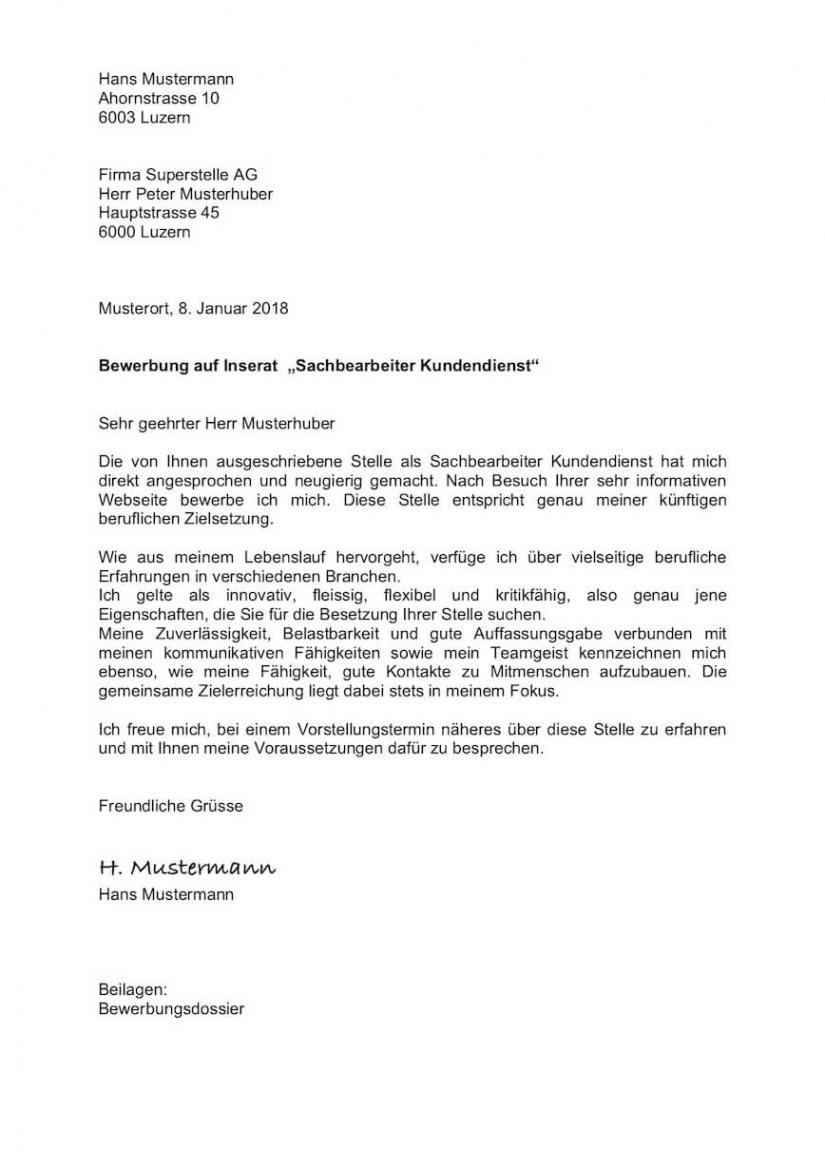 Porbe von  Bewerbungsschreiben (Anschreiben) Vorlage Schweiz  Mustervorlagech Lebenslauf Vorlage Schweiz Lehrabgänger