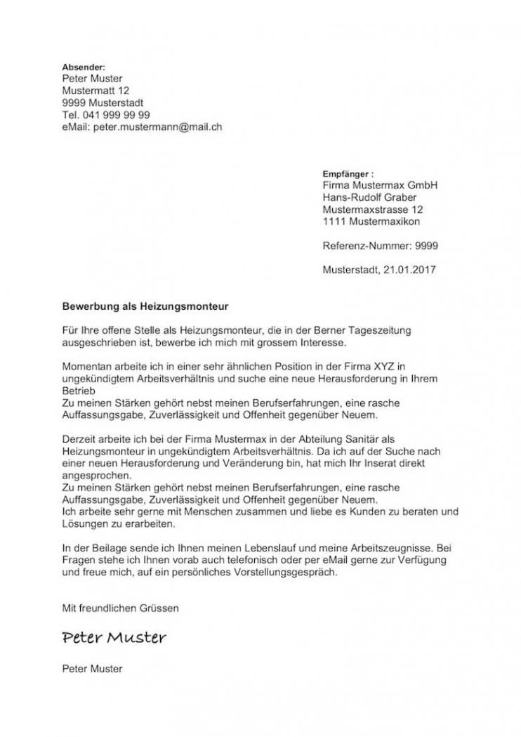 Porbe von  Bewerbungsschreiben Muster (Schweiz) Vorlage Gratis  Mustervorlagech Bewerbungsschreiben Vorlage Kv Schweiz