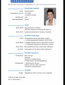 Porbe von  Der Perfekte Lebenslauf Für Die Bewerbung Zur Ausbildung Lebenslauf Muster Ausbildung Verwaltungsfachangestellte
