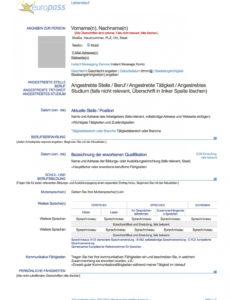 Porbe von  Europass Lebenslauf (Deutsch) : Muster Lebenslauf Lebenslauf Vorlage Nach Eu-Norm