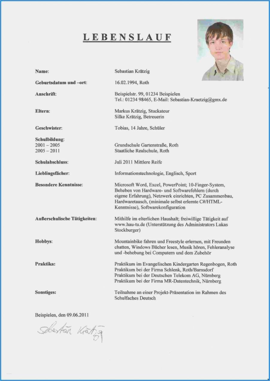 Porbe von  Extraordinay Bewerbung Praktikum 8 Klasse Vorlage Vorlage Lebenslauf Lebenslauf Muster Schüler 8 Klasse