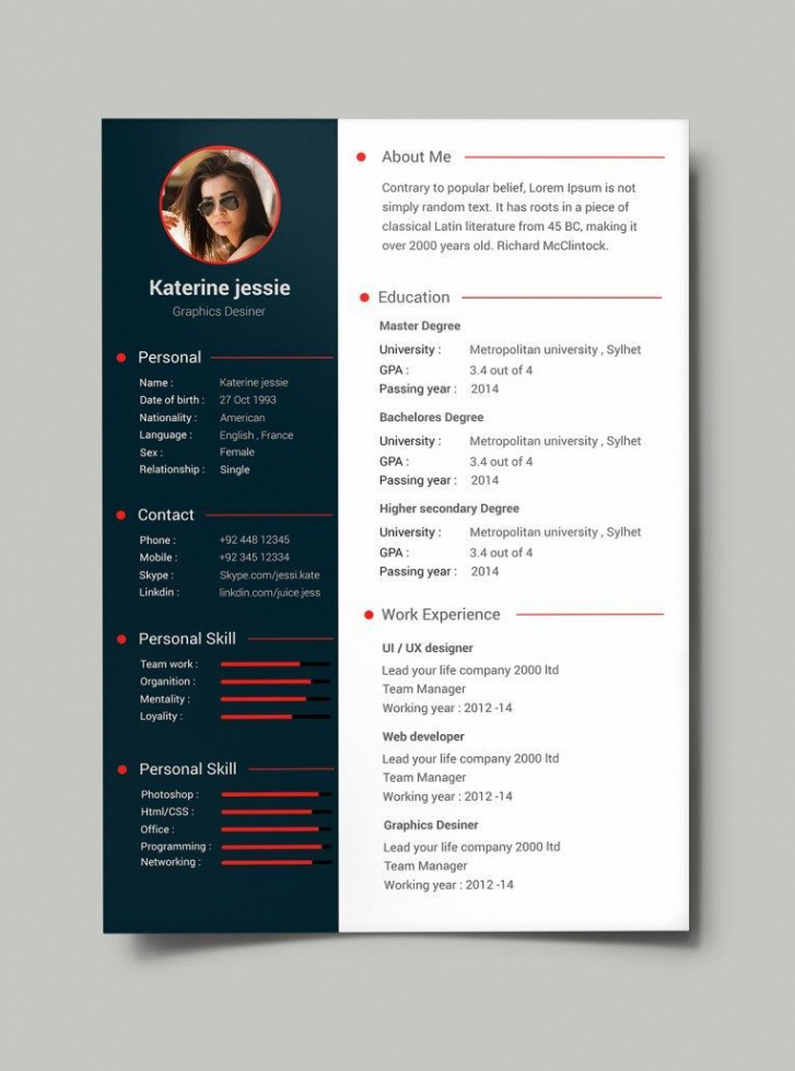 Porbe von  Free Professional Resume  Cv Template (Psd) …  Resume  Pinte… Vorlage Lebenslauf Psd