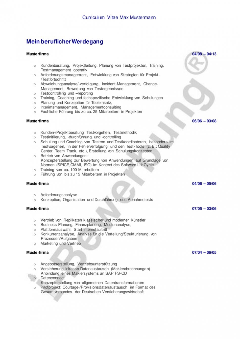 Porbe von  Initiativbewerbung Als Projektleiter (Muster Lebenslauf) Vorlage Lebenslauf Projektleiter