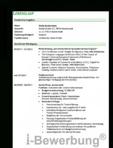 Porbe von  Initiativbewerbung Als Sekretärin (Beispiel Lebenslauf) Vorlage Lebenslauf Sekretärin