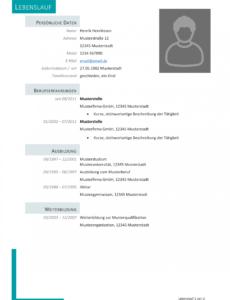 Porbe von  Kostenlose Lebenslauf Muster Und Vorlagen Für Deine Bewerbung 2018 Lebenslauf Vorlage Ausbildung.de
