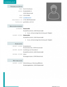 Porbe von  Kostenlose Lebenslauf Muster Und Vorlagen Für Deine Bewerbung 2018 Vorlage Lebenslauf Schüler Zum Ausfüllen