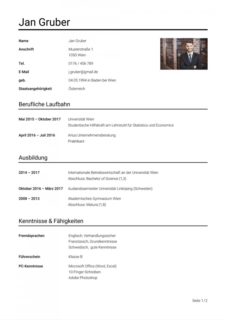 Porbe von  Lebenslauf Beispiel Österreich: Vorlage  Studierenat Vorlage Lebenslauf Universität