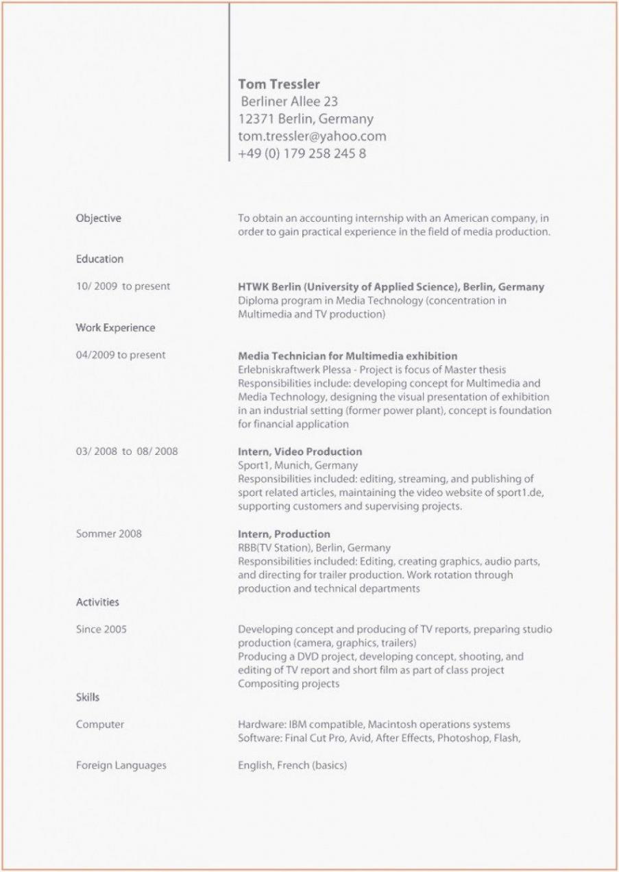 Porbe von  Lebenslauf Englisch Beispiel Lebenslauf Englisch Cv Vorlage Vorlage Lebenslauf Mit Kompetenzprofil
