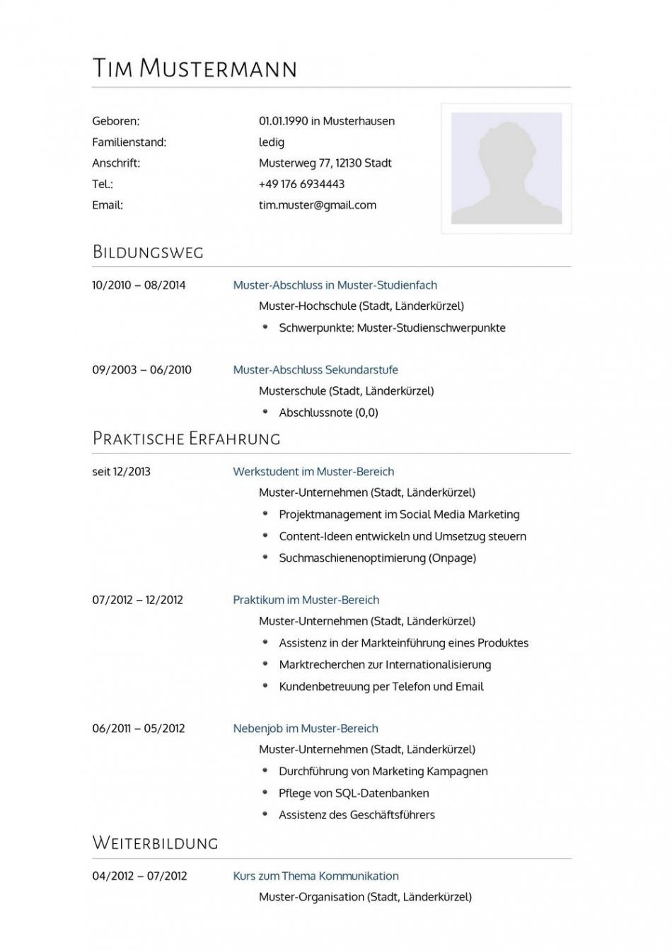 Porbe von  Lebenslauf Muster Für Arzt  Lebenslauf Designs Vorlage Lebenslauf Medizin