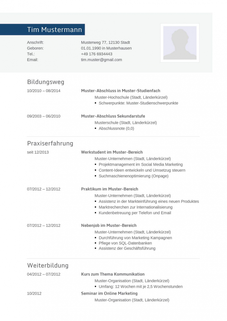 Porbe von  Lebenslauf Muster Für Informatiker  Lebenslauf Designs Lebenslauf Vorlage Gestaltung