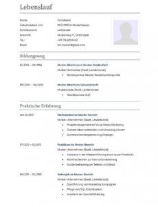 Porbe von  Lebenslauf Muster Für Lehrer  Lebenslauf Designs Vorlage Lebenslauf Österreich