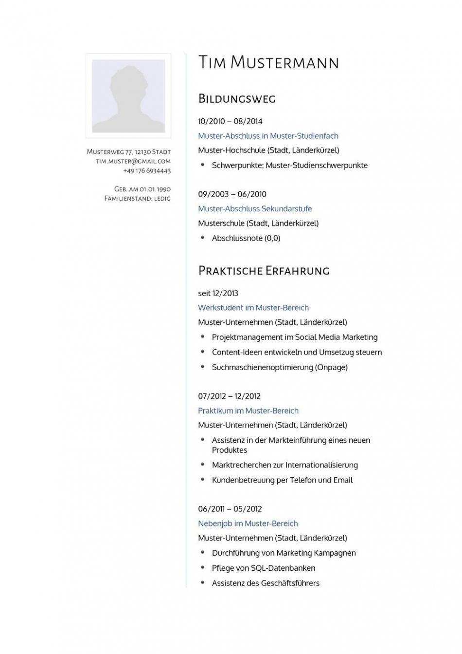Porbe von  Lebenslauf Muster Für Psychologe  Lebenslauf Designs  J Lebenslauf Vorlage Naturwissenschaftler
