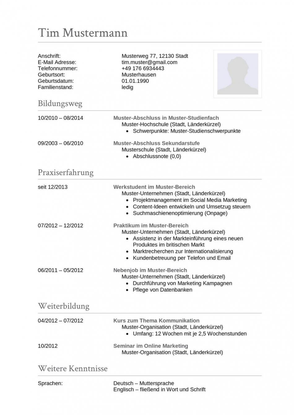 Porbe von  Lebenslauf Muster Für Sachbearbeiter  Lebenslauf Designs Vorlage Lebenslauf Buchhaltung