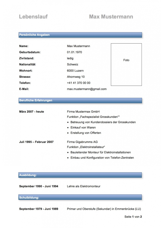 Porbe von  Lebenslauf Muster & Vorlagen  Mustervorlagech Lebenslauf Muster Modern Schweiz