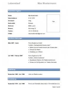 Porbe von  Lebenslauf Muster & Vorlagen  Mustervorlagech Lebenslauf Vorlage Schweiz Student