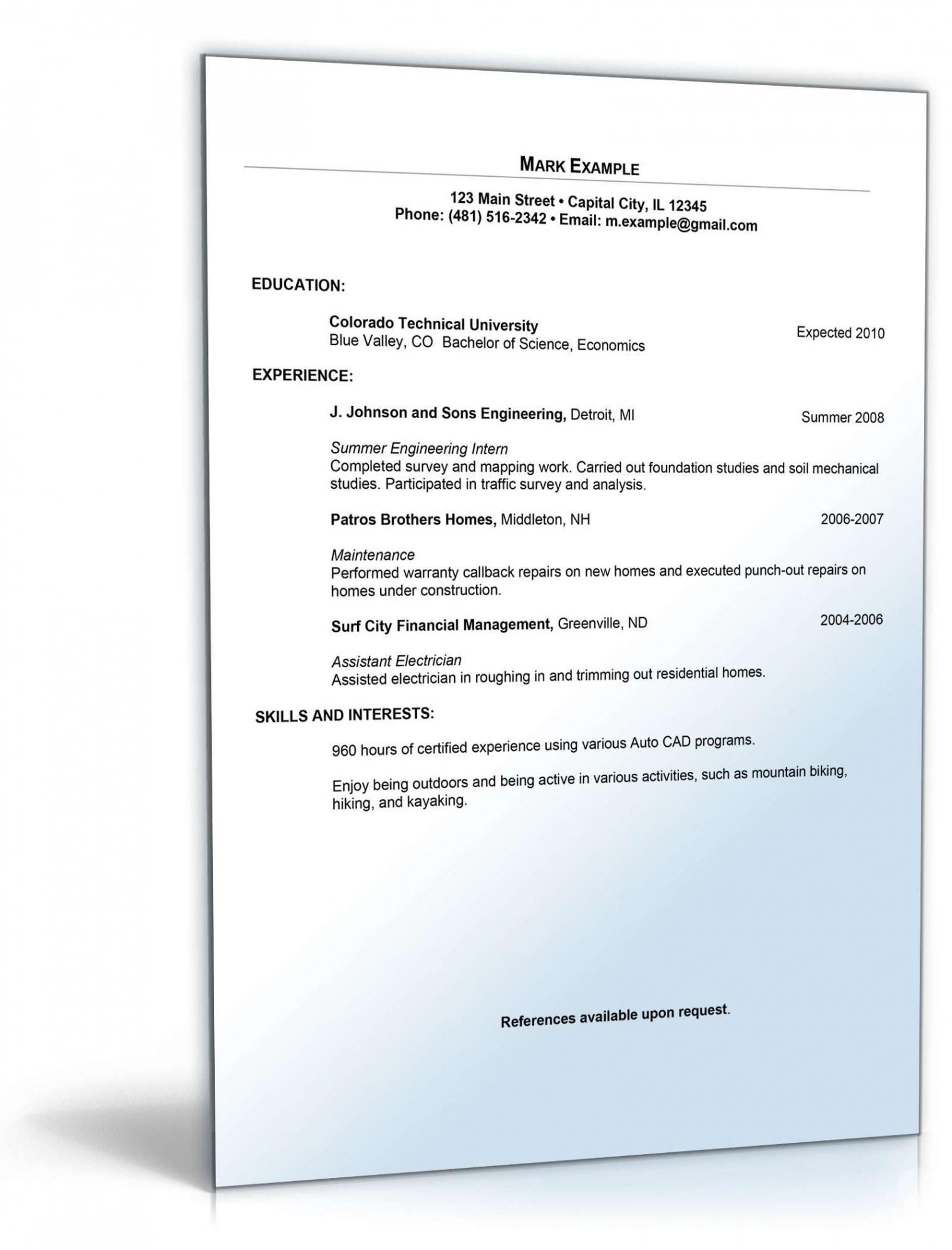 Porbe von  Lebenslauf Praktikum Englisch  Muster Zum Download Muster Lebenslauf Englisch Praktikum