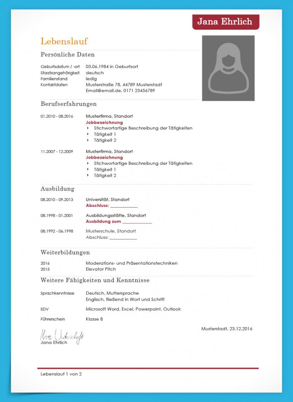 Porbe von  Lebenslauf Vorlage 2019 (Kostenloser Download) Vorlage Lebenslauf Österreich