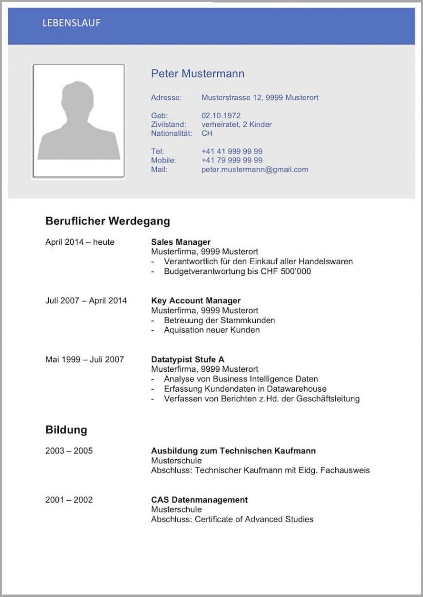 Porbe von  Lebenslauf Vorlagen & Muster  Kostenlose Wordvorlage Lebenslauf Vorlage Schweiz Kader
