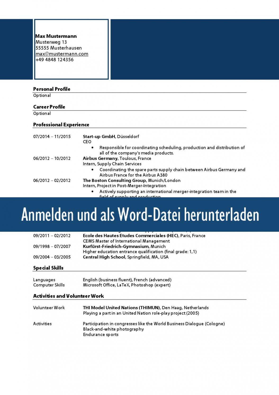 Porbe von  Muster Zum Download: Lebenslauf Englisch Lebenslauf Englisch Vorlage Praktikum