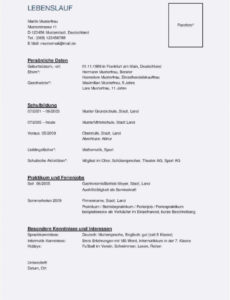 Porbe von  Neueste Lebenslauf Muster Schüler Kopieren Tabellarischer Lebenslauf Lebenslauf Vorlage Schüler Kopieren