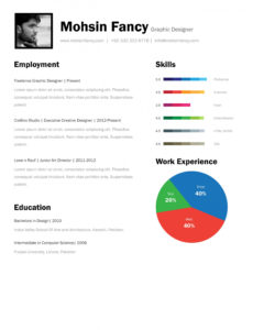 Porbe von  One Page Resume Template Free Download One Page Resume Template Free Vorlage Lebenslauf One Pager