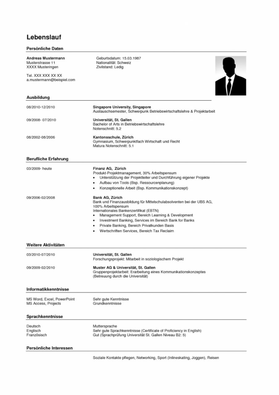 Porbe von  Primär Lebenslauf Vorlagen Schweiz 2018 Curriculum Vitae Template Lebenslauf Vorlage Schweiz Student