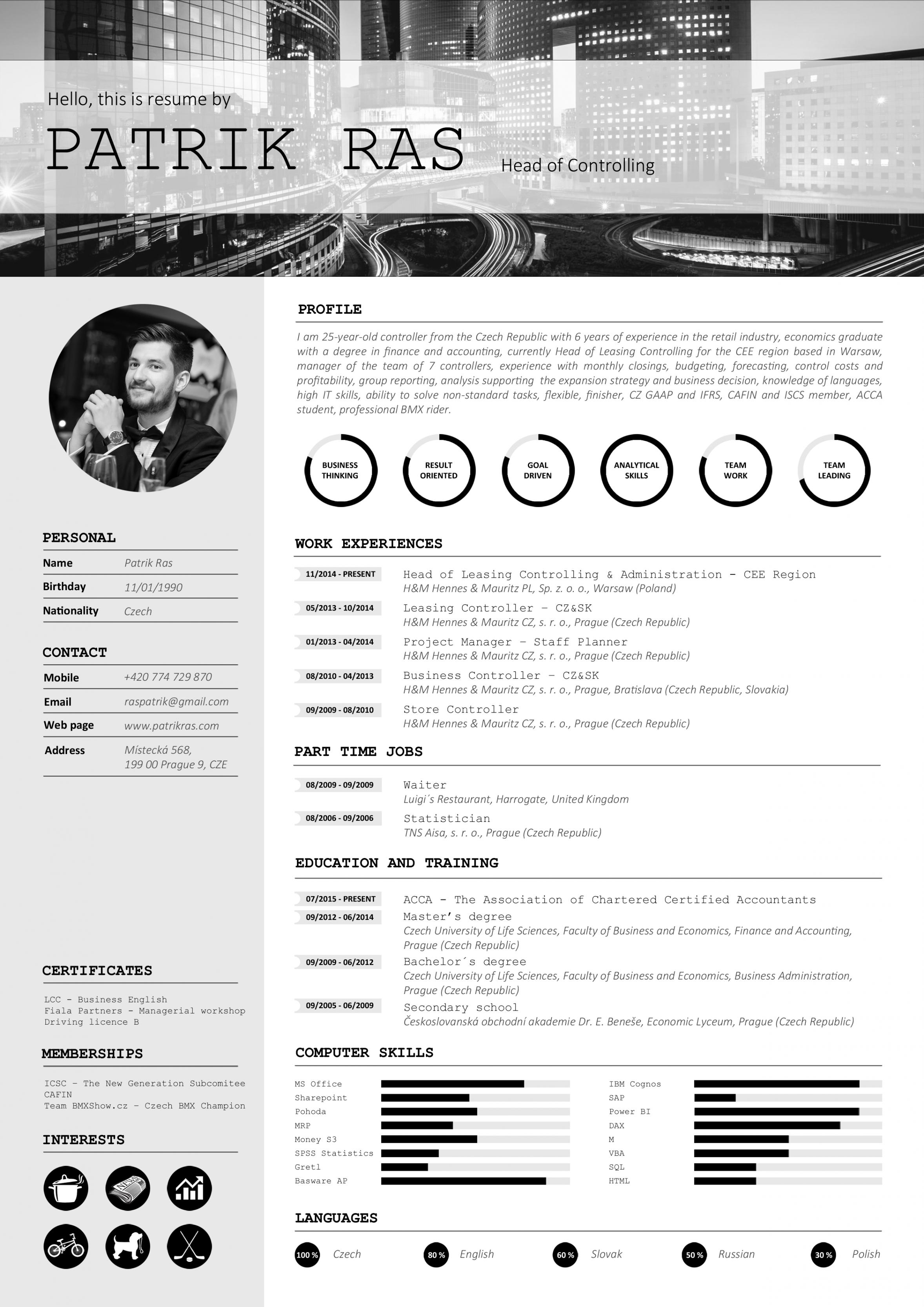 Porbe von  Resume Cv Template Graphics Blackandwhite Bw Icons Icongraphic Vorlage Lebenslauf Mit Icons