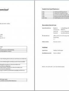 Porbe von  Tabellarischer Lebenslauf (Muster, Aufbau, Wordvorlage, Beispiel) Lebenslauf Vorlage Job
