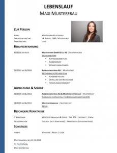 Porbe von  Tabellarischer Lebenslauf Vorlage: Kostenlose Muster Zum Download! Lebenslauf Druckvorlage