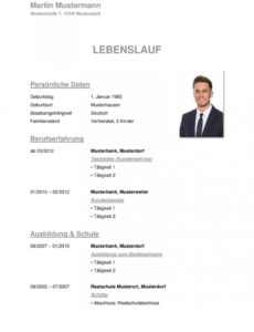 Porbe von  Tabellarischer Lebenslauf Vorlage: Kostenlose Muster Zum Download! Vorlage Lebenslauf Deutsch