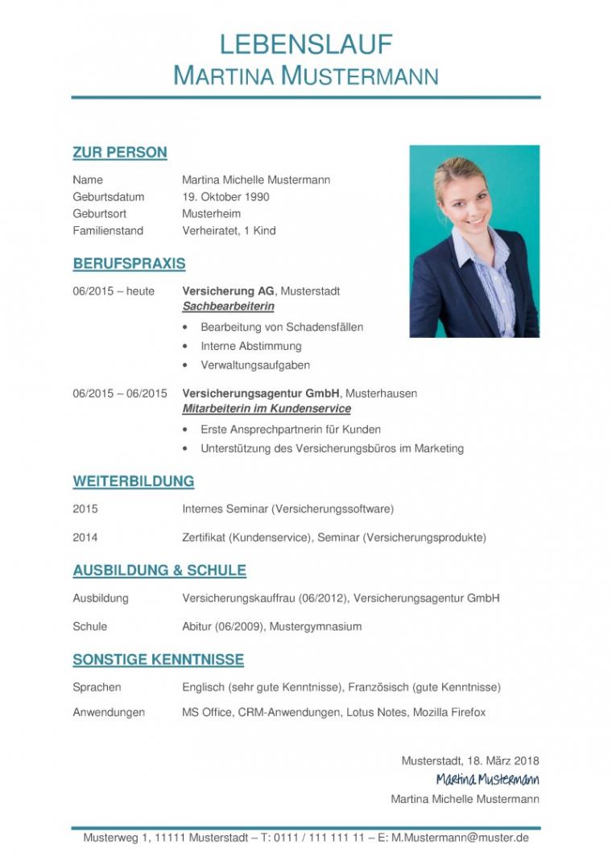 Porbe von  Tabellarischer Lebenslauf Vorlage: Kostenlose Muster Zum Download! Vorlage Lebenslauf Ohne Passbild