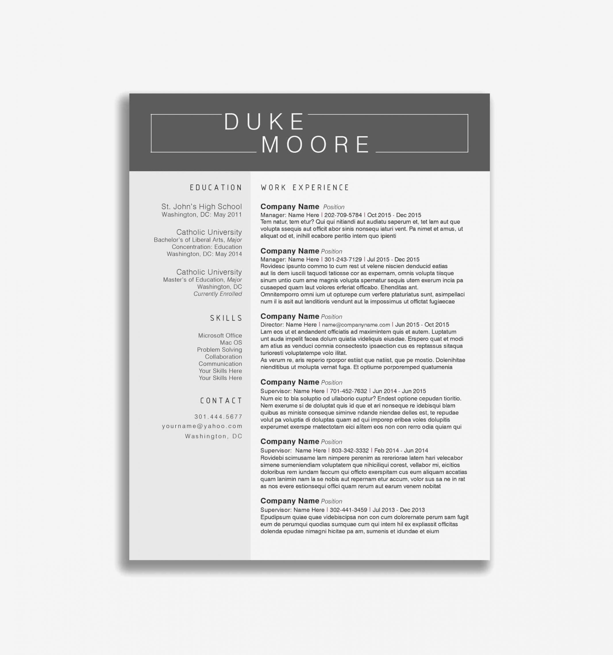 Porbe von  Word Resume Template Download Inspirational Resume Template Free Vorlage Lebenslauf Elegant