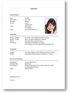 Tabellarischer Lebenslauf Beispiel 2  Office Lebenslauf Vorlage Schweiz Praktikum