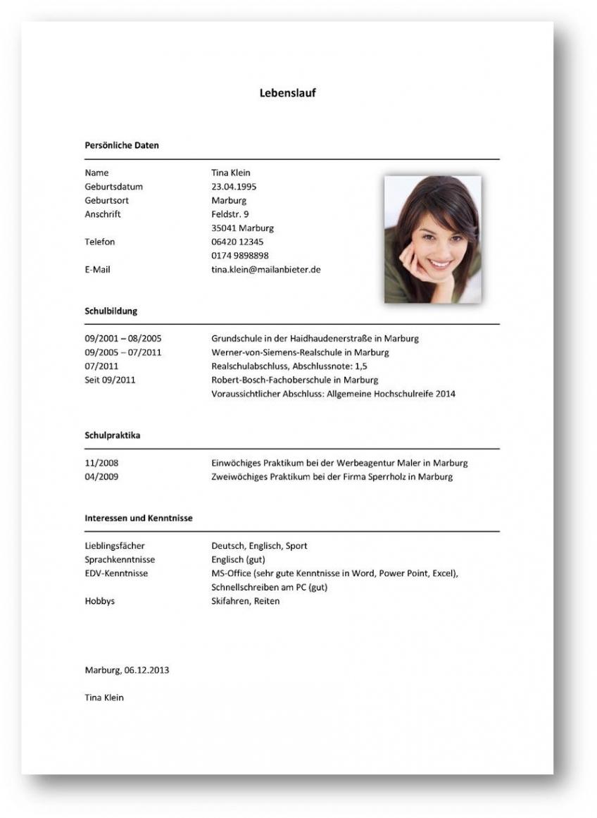 Tabellarischer Lebenslauf Beispiel 2  Office Vorlage Tabellarischer Lebenslauf Praktikum