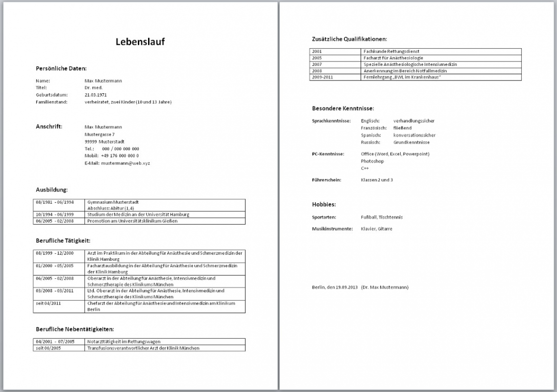 Tabellarischer Lebenslauf (Muster, Aufbau, Wordvorlage, Beispiel) Vorlage Lebenslauf Medizin