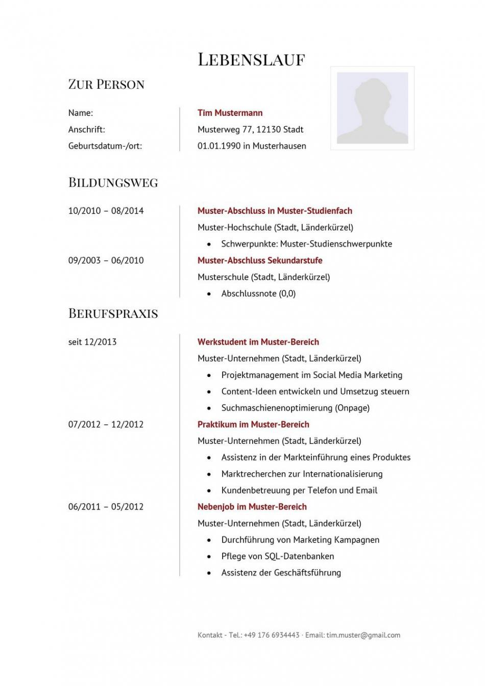 Tabellarischer Lebenslauf  Muster & Vorlagen  Lebenslaufdesignsde Lebenslauf Muster Tabellarischer Aufbau