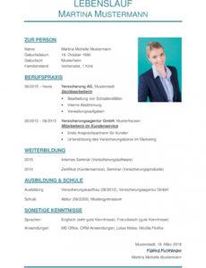 Tabellarischer Lebenslauf Vorlage: Kostenlose Muster Zum Download! Lebenslauf Druckvorlage