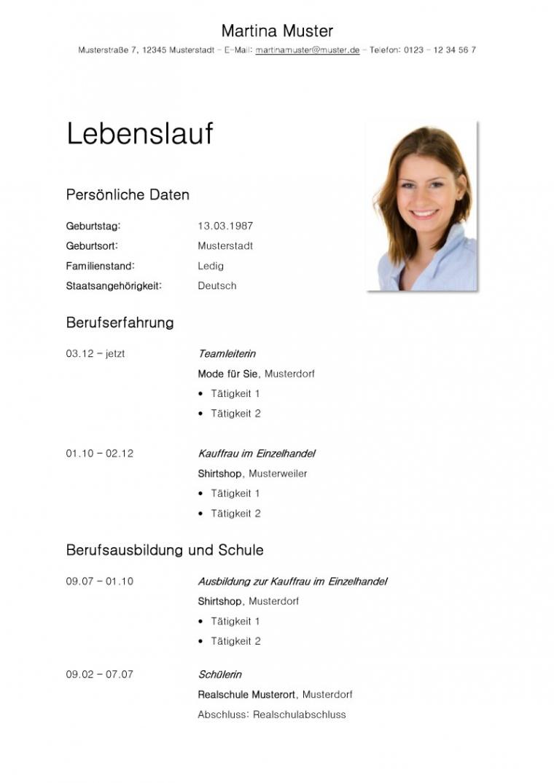 Tabellarischer Lebenslauf Vorlage: Kostenlose Muster Zum Download! Vorlage Lebenslauf Zum Herunterladen