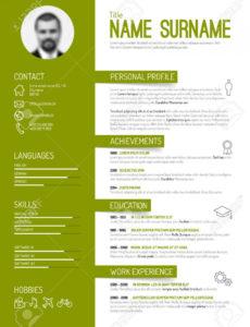 Vector Minimalistischen Cv / Resumevorlage  Grüne Version Vorlage Lebenslauf Grün
