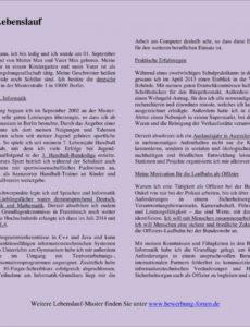 Ausführlicher Lebenslauf  Formulierungen Und Muster Lebenslauf Berichtsform Bundespolizei Vorlage