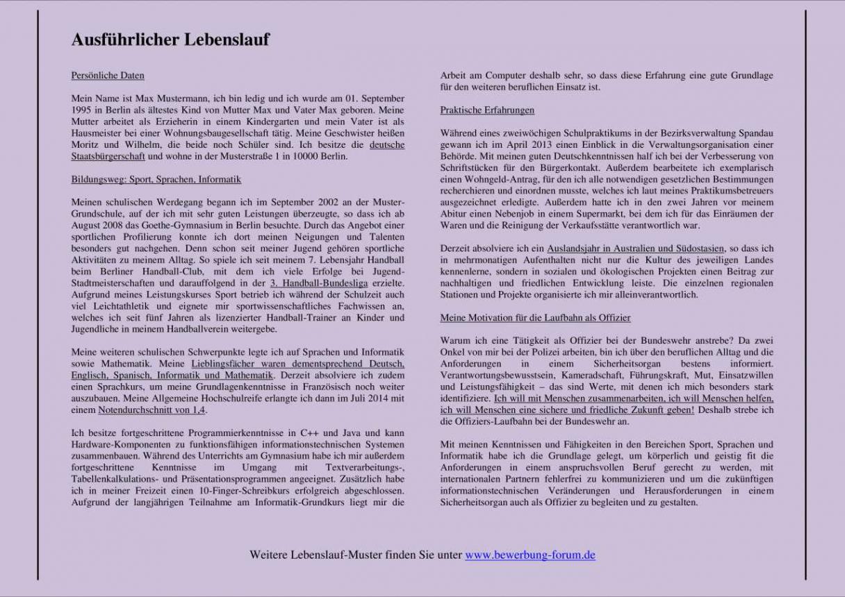Lebenslauf Berichtsform Bundespolizei Vorlage Casagenotta